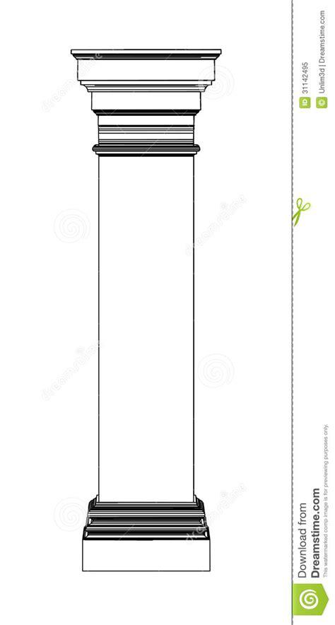eps outline format single greek column isolated on white stock vector