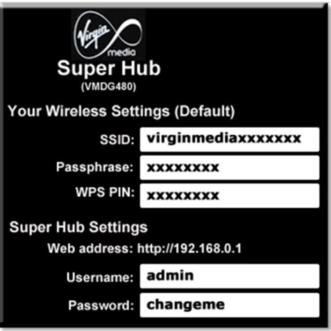 how to reset virgin media superhub username and password article details