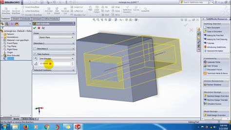 solidworks tutorial extrude learn solidworks extrude cut thin feature tutorial