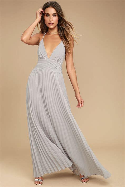 Grey Pleated 2pcs Dress stunning grey dress pleated maxi dress grey gown 78 00