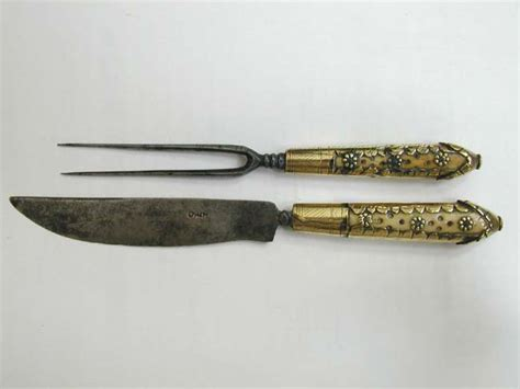 Kitchen Forks And Knives A 17th Century Ivory And Brass Handled Fork And Knife Set