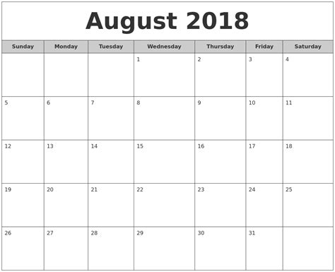 2018 Printable Monthly Calendar August 2018 Free Monthly Calendar