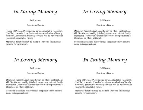 obituary templates fill in pictures to pin on pinterest