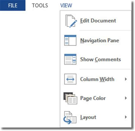 word layout options read mode in word 2013