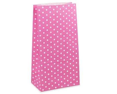 Paperbag Polkadot Tebal Pink favor bags pink polka dot paper lunch bags set of