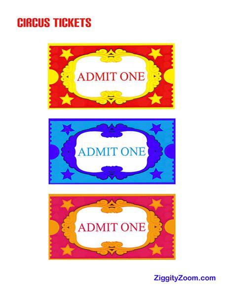 carnival ticket template 6 best images of free printable circus ticket templates