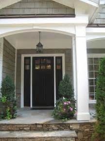 Front Door Columns Gray Siding White Trim Black Front Door House Front Porches The Doors And