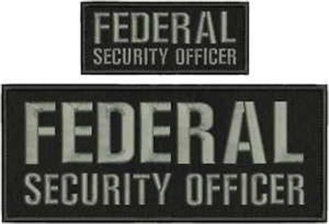 federal security officer embroidery patch 4x10 and 2x5 velcro grey letters ebay