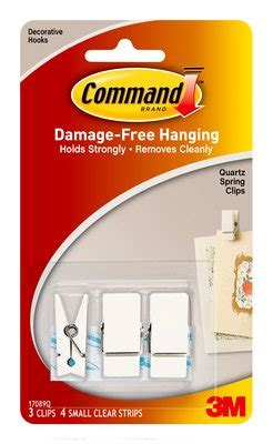 command damage free general purpose hanging hook clear command quartz spring clips 3pk 17089q