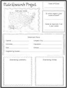 state report template 12 best images of my state report worksheet social