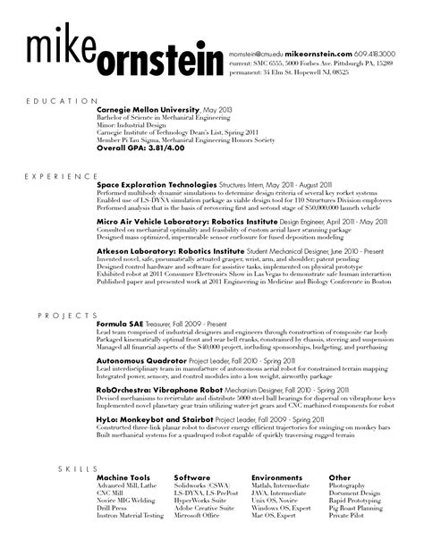 cv draft template resume draft mike ornstein cdf fall 2011