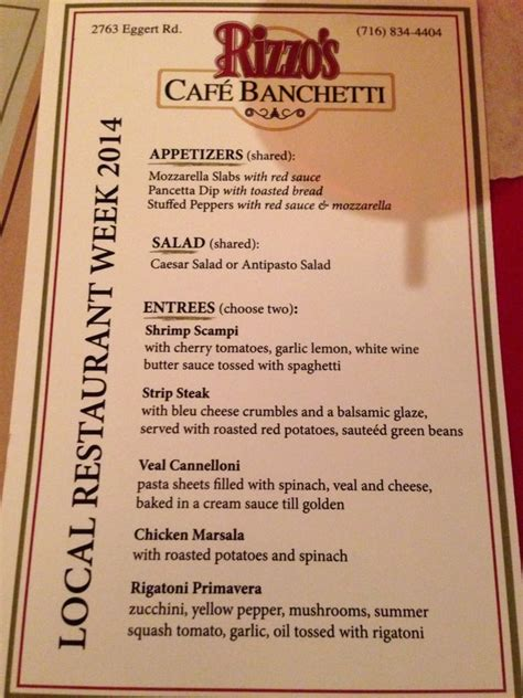 menu banchetti restaurant week menu yelp