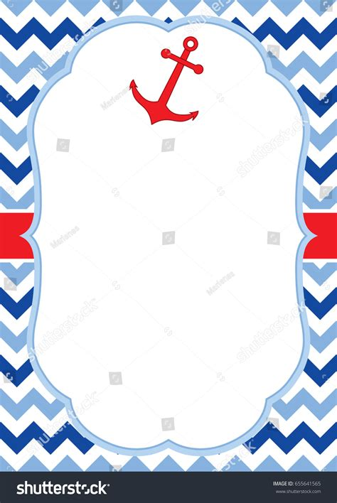 nautical card templates vector greeting card template anchor chevron stock vector