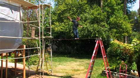 backyard tightrope 9 year old on backyard highwire tightrope youtube