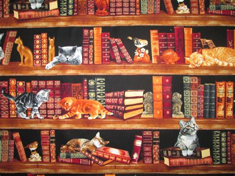 cats book shelves stacked books cotton fabric quarter or