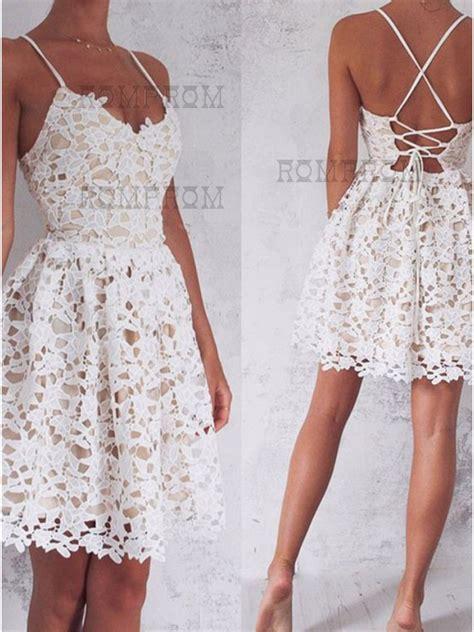 Spaghetti A Line Lace Dress a line spaghetti straps lace up white lace