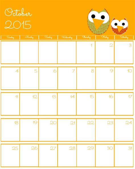 free printable planner october 2015 free 2015 printable calendar the bearfoot baker