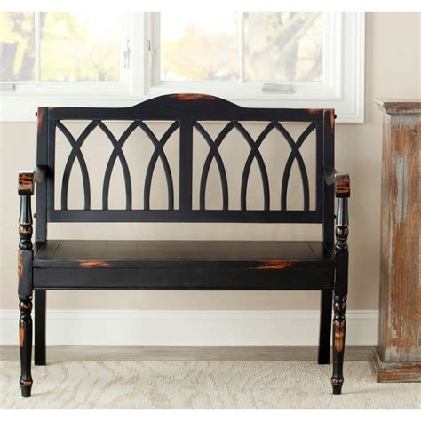 front hall bench safavieh benjamin distressed black bench amh6500b the