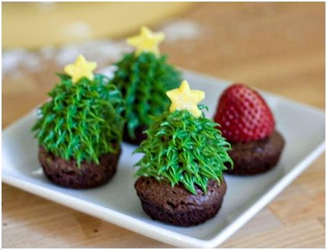 christmas tree brownies with a strawberry surprise