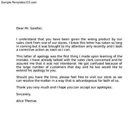 Apology Letter Format For Client Professional Apology Letter To Client Sle Templates