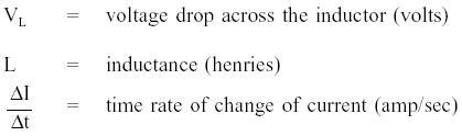 rate of change of current through an inductor dc circuits