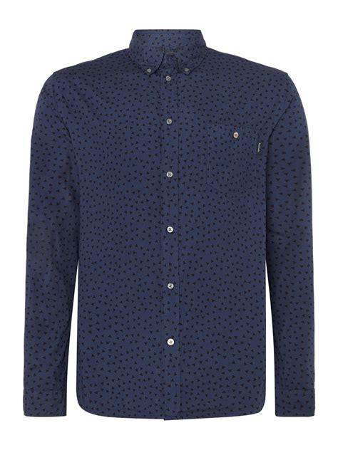 pattern button shirt paul smith pattern long sleeve button down shirt in blue