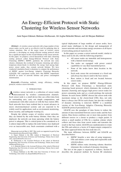 An energy efficient protocol with static clustering for wsn
