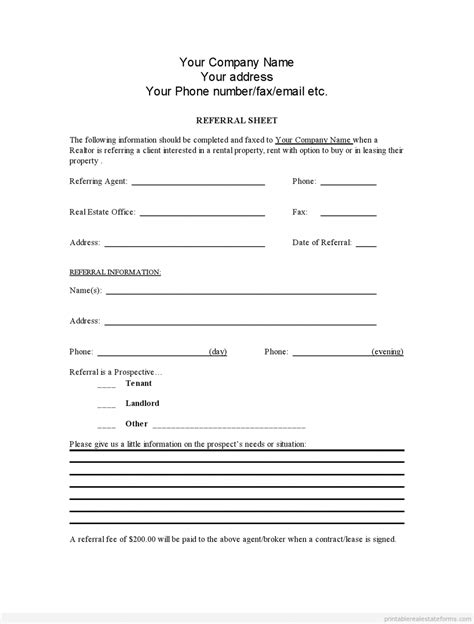referral fee agreement template sle printable referral sheet for realtors form