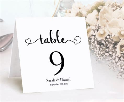 template wedding table number cards table numbers printable wedding table card template diy