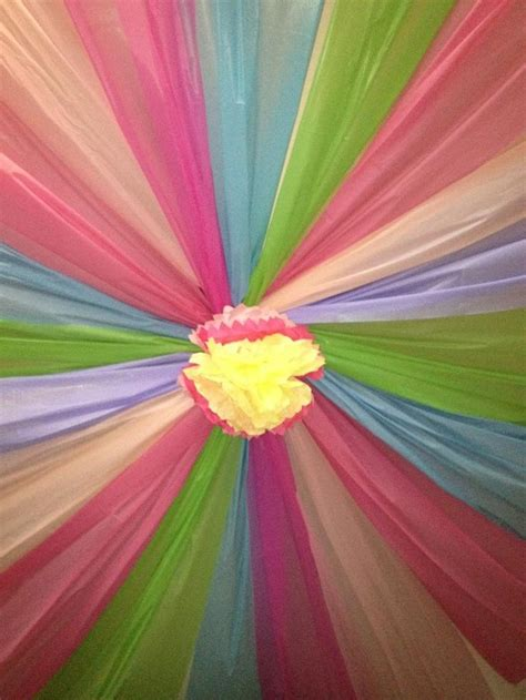 ceiling from plastic tablecloths decorations