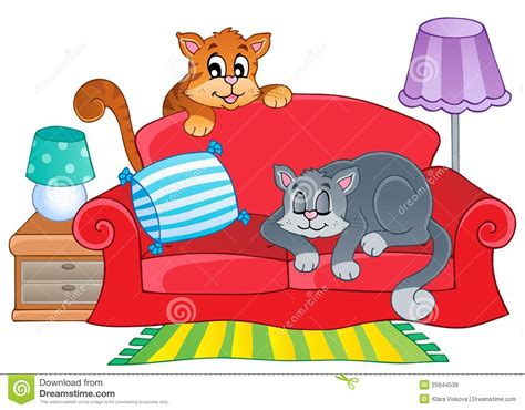 Home Design For Extended Family by Red Sofa With Two Cartoon Cats Royalty Free Stock Images