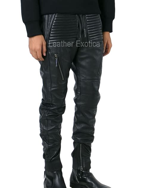 style men leather track pant