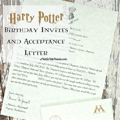 Harry Potter Acceptance Letter Birthday Card 17 Best Ideas About Harry Potter Invitations On Harry Potter Birthday Harry Potter