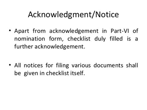 Acknowledgement Letter For Nomination Nomination Process As On January 2014