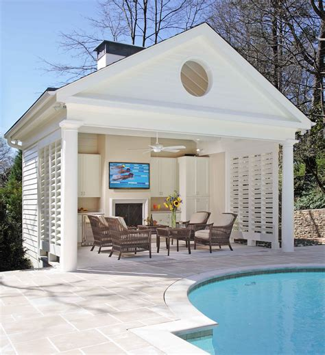 pool house ideas buckhead pool and cabana with fireplace bahamian shutters