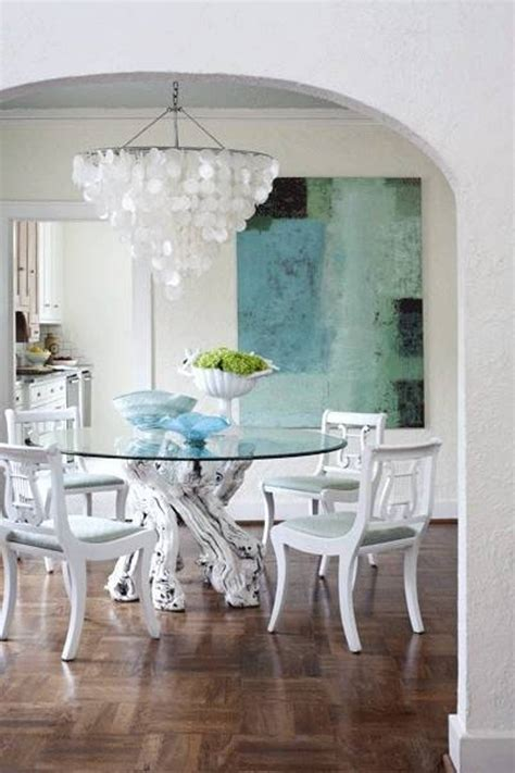 capiz home decor decor modern capiz shell chandelier with glass dining table and white dining chairs plus
