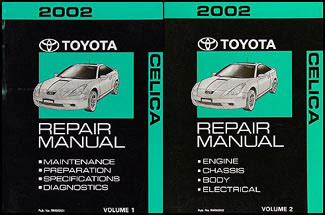 2002 toyota celica repair shop manual 2 volume set original