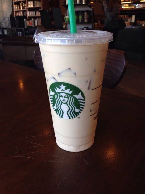 Iced Coffee Starbucks vanilla iced coffee grande in a venti cup breve