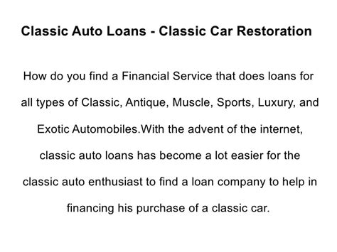 Car Loan Types by Classic Auto Loans Classic Car Restoration