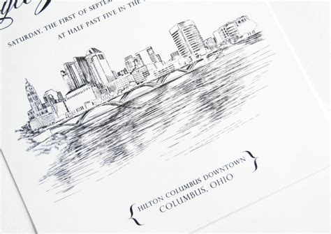 Wedding Invitations Columbus Ohio columbus ohio skyline wedding invitations