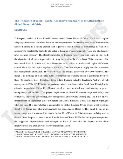 Essay About Economic Crisis by Essay The Relevance Of Basel Ii Capital Adequacy Framework In The Aft