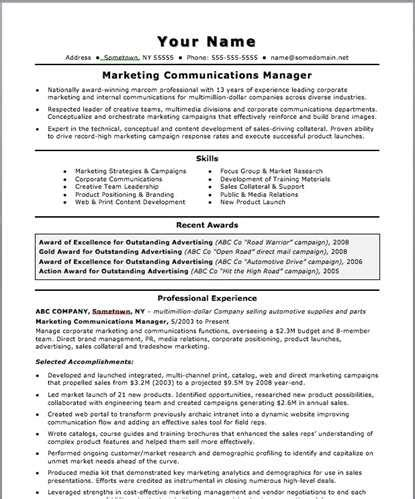 Resume Exles For Communications Director Sle Communications Manager Resume