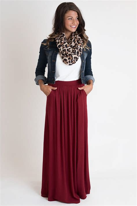 Maxi Syari Cammelia Marron tricks or treat burgundy maxi skirt from single thread