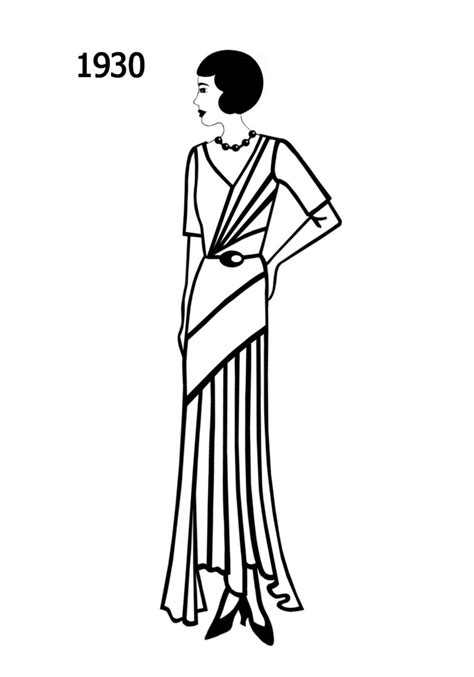 Costume Silhouettes 1930-1932 Free Line Drawings - Fashion