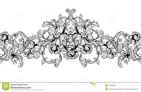 decorative baroque design elements vector ornamental border frame baroque pattern vector seamless