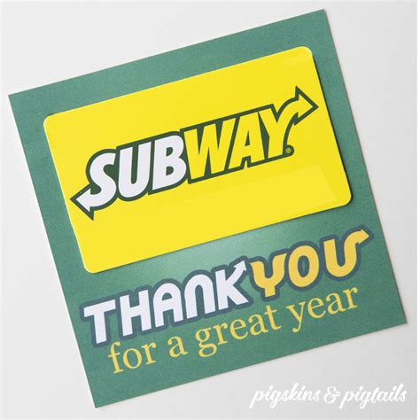 Subway Gift Card - subway thank you gift tag pigskins pigtails