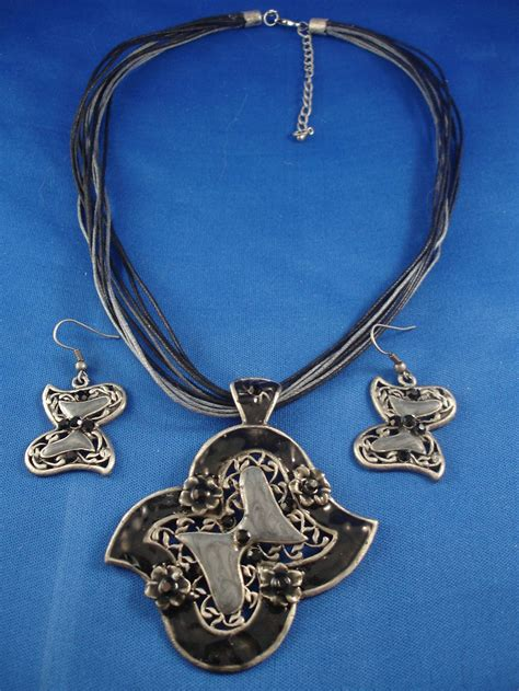 Set Of 2 Pendant Necklace set of necklace earring 2 1 2 quot black butterfly metal