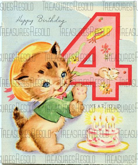 Happy Birthday Wishes 4 Year Boy Happy Birthday 4 Year Old Kitten Card 12 Digital Download