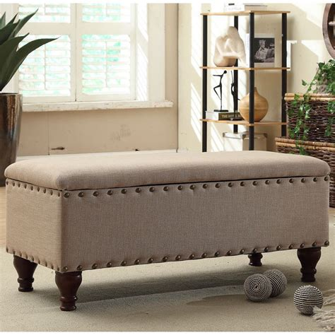 Living Room Bench With Storage | nailhead upholstered storage bench living room furniture