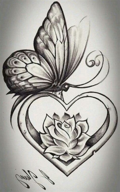 butterfly and heart tattoos butterfly tattoos
